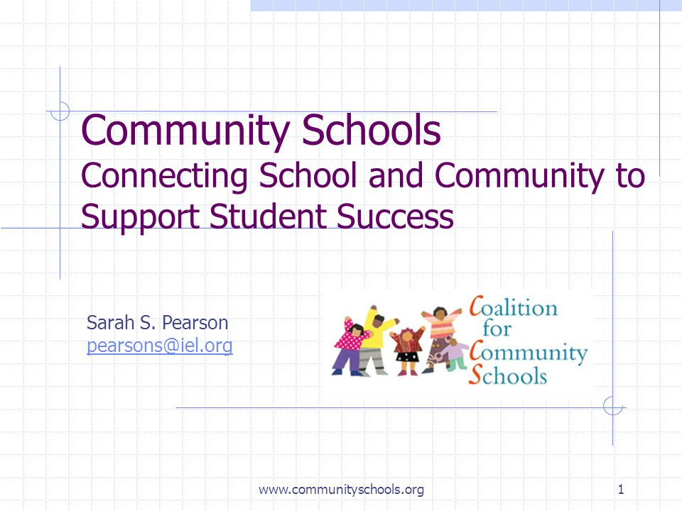 www.communityschools.org1 Community Schools Connecting School and Community to Support Student Success Sarah S.