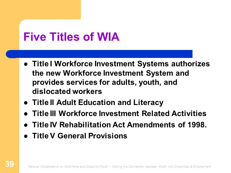 National Collaborative on Workforce and Disability/Youth -- Making the Connection between Youth with Disabilities & Employment 39 Five Titles of WIA T