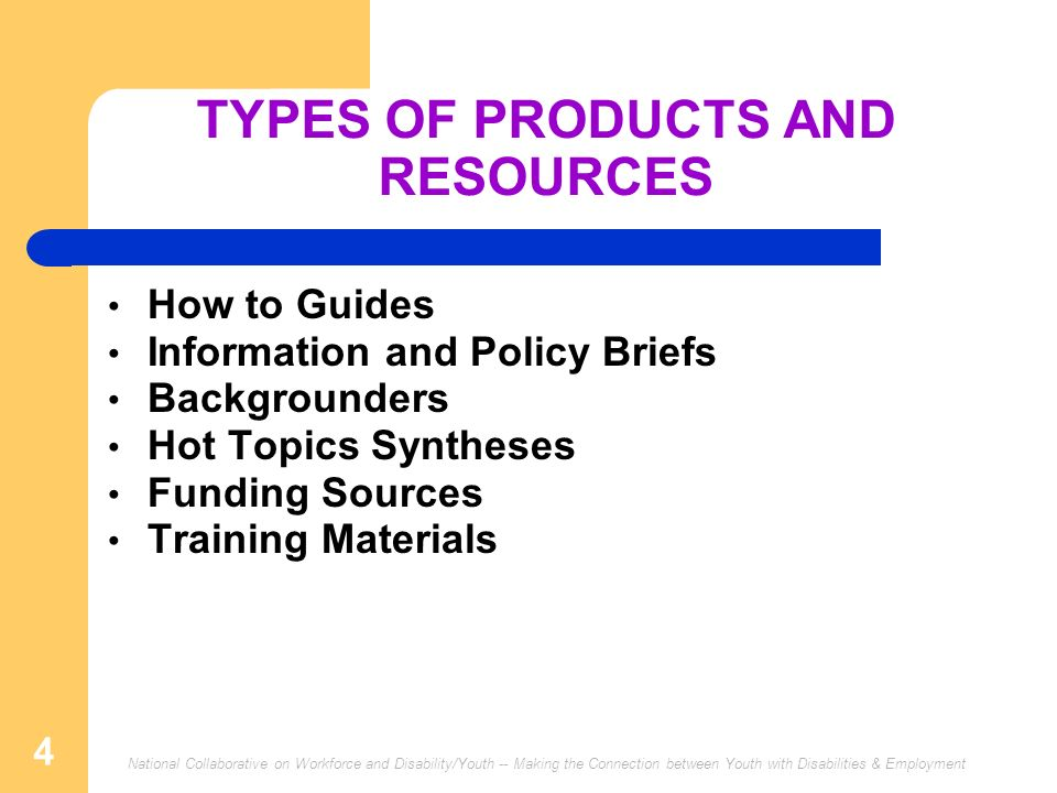 National Collaborative on Workforce and Disability/Youth -- Making the Connection between Youth with Disabilities & Employment 4 TYPES OF PRODUCTS AND
