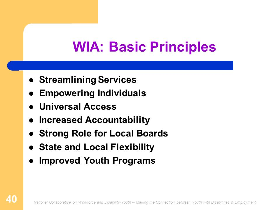 National Collaborative on Workforce and Disability/Youth -- Making the Connection between Youth with Disabilities & Employment 40 WIA: Basic Principle