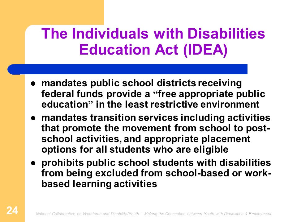 National Collaborative on Workforce and Disability/Youth -- Making the Connection between Youth with Disabilities & Employment 24 The Individuals with Disabilities Education Act (IDEA) mandates public school districts receiving federal funds provide a free appropriate public education in the least restrictive environment mandates transition services including activities that promote the movement from school to post- school activities, and appropriate placement options for all students who are eligible prohibits public school students with disabilities from being excluded from school-based or work- based learning activities