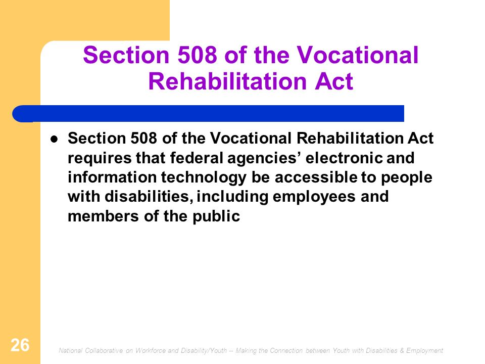 National Collaborative on Workforce and Disability/Youth -- Making the Connection between Youth with Disabilities & Employment 26 Section 508 of the Vocational Rehabilitation Act Section 508 of the Vocational Rehabilitation Act requires that federal agencies electronic and information technology be accessible to people with disabilities, including employees and members of the public