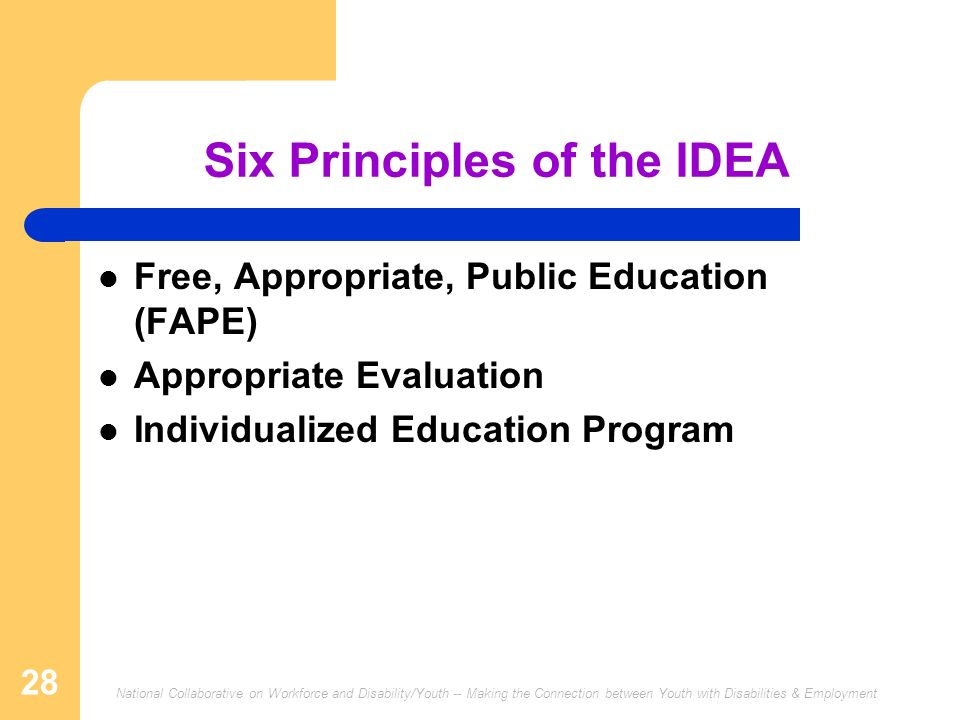 National Collaborative on Workforce and Disability/Youth -- Making the Connection between Youth with Disabilities & Employment 28 Six Principles of the IDEA Free, Appropriate, Public Education (FAPE) Appropriate Evaluation Individualized Education Program