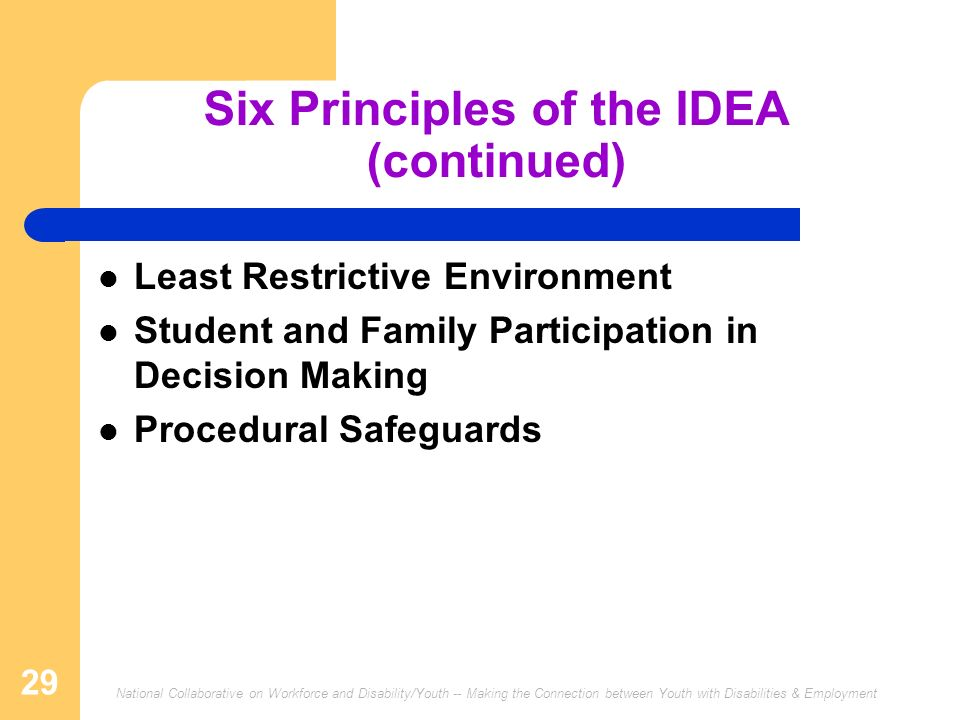 National Collaborative on Workforce and Disability/Youth -- Making the Connection between Youth with Disabilities & Employment 29 Six Principles of the IDEA (continued) Least Restrictive Environment Student and Family Participation in Decision Making Procedural Safeguards