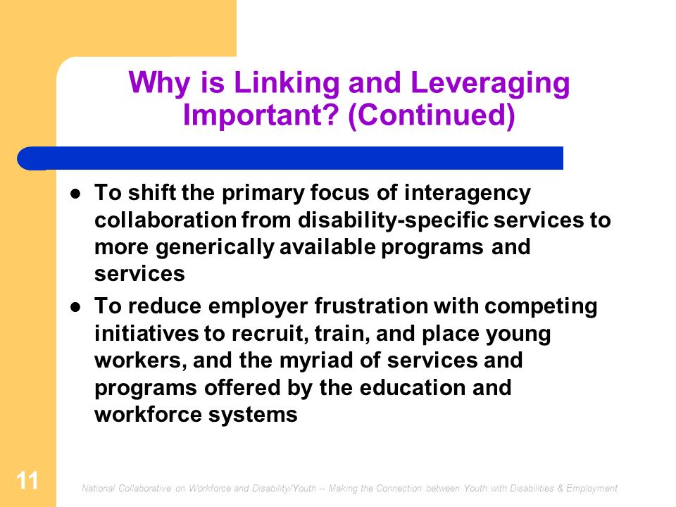 National Collaborative on Workforce and Disability/Youth -- Making the Connection between Youth with Disabilities & Employment 11 Why is Linking and Leveraging Important.