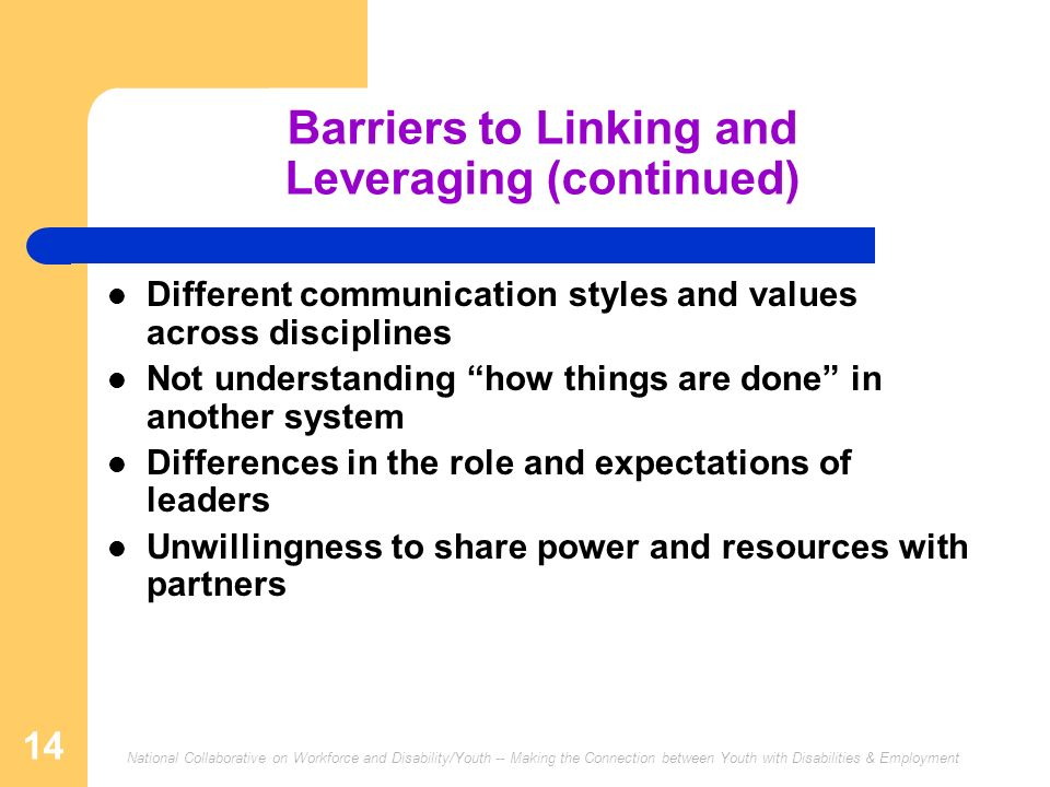 National Collaborative on Workforce and Disability/Youth -- Making the Connection between Youth with Disabilities & Employment 14 Barriers to Linking