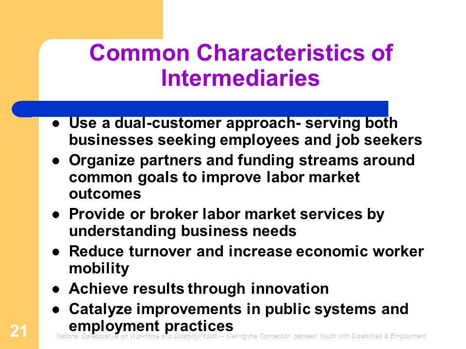 National Collaborative on Workforce and Disability/Youth -- Making the Connection between Youth with Disabilities & Employment 21 Common Characteristics of Intermediaries Use a dual-customer approach- serving both businesses seeking employees and job seekers Organize partners and funding streams around common goals to improve labor market outcomes Provide or broker labor market services by understanding business needs Reduce turnover and increase economic worker mobility Achieve results through innovation Catalyze improvements in public systems and employment practices