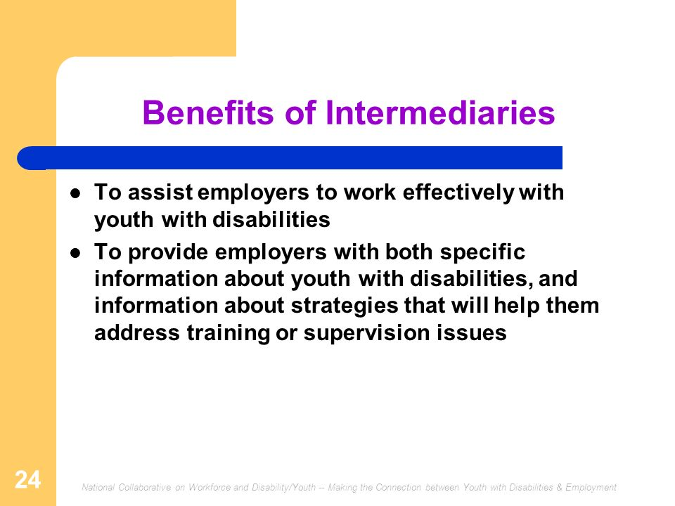 National Collaborative on Workforce and Disability/Youth -- Making the Connection between Youth with Disabilities & Employment 24 Benefits of Intermediaries To assist employers to work effectively with youth with disabilities To provide employers with both specific information about youth with disabilities, and information about strategies that will help them address training or supervision issues