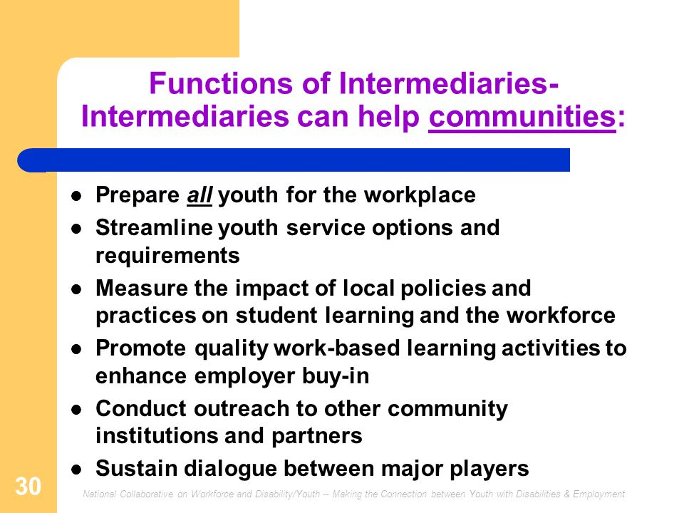 National Collaborative on Workforce and Disability/Youth -- Making the Connection between Youth with Disabilities & Employment 30 Functions of Intermediaries- Intermediaries can help communities: Prepare all youth for the workplace Streamline youth service options and requirements Measure the impact of local policies and practices on student learning and the workforce Promote quality work-based learning activities to enhance employer buy-in Conduct outreach to other community institutions and partners Sustain dialogue between major players