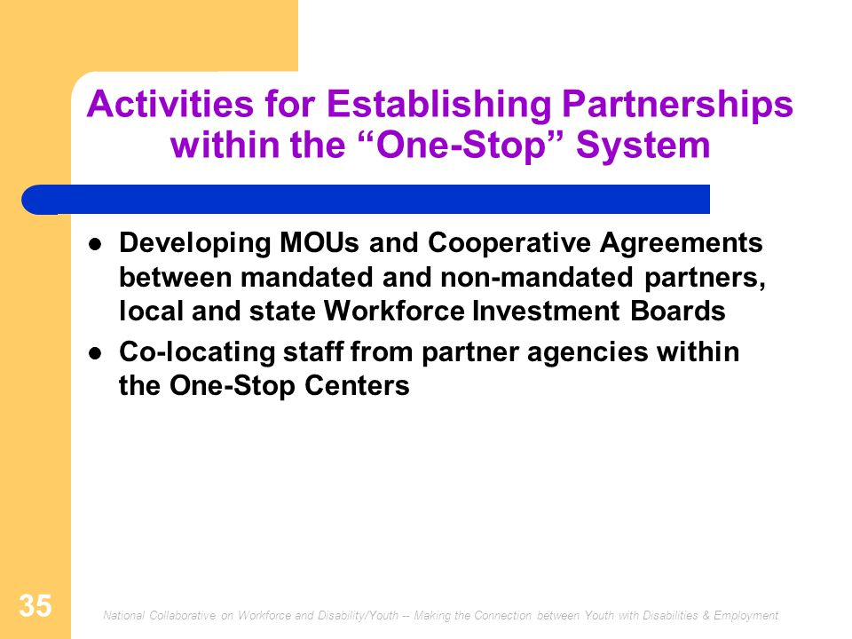 National Collaborative on Workforce and Disability/Youth -- Making the Connection between Youth with Disabilities & Employment 35 Activities for Establishing Partnerships within the One-Stop System Developing MOUs and Cooperative Agreements between mandated and non-mandated partners, local and state Workforce Investment Boards Co-locating staff from partner agencies within the One-Stop Centers