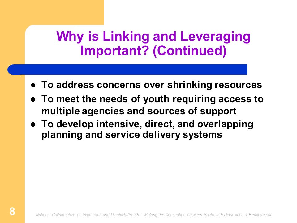 National Collaborative on Workforce and Disability/Youth -- Making the Connection between Youth with Disabilities & Employment 8 Why is Linking and Leveraging Important.