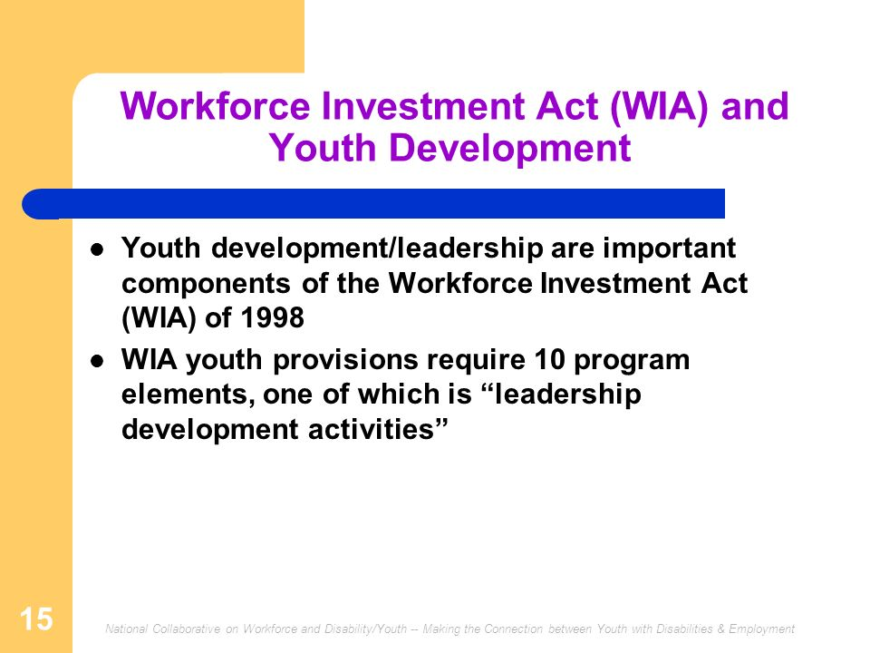 National Collaborative on Workforce and Disability/Youth -- Making the Connection between Youth with Disabilities & Employment 15 Workforce Investment