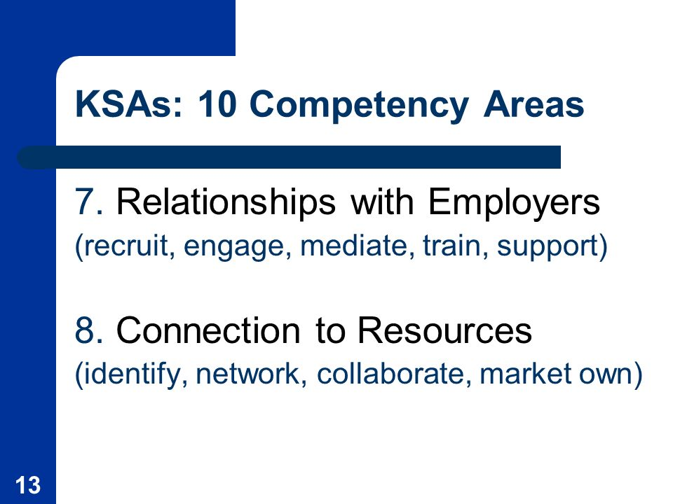 13 KSAs: 10 Competency Areas 7.