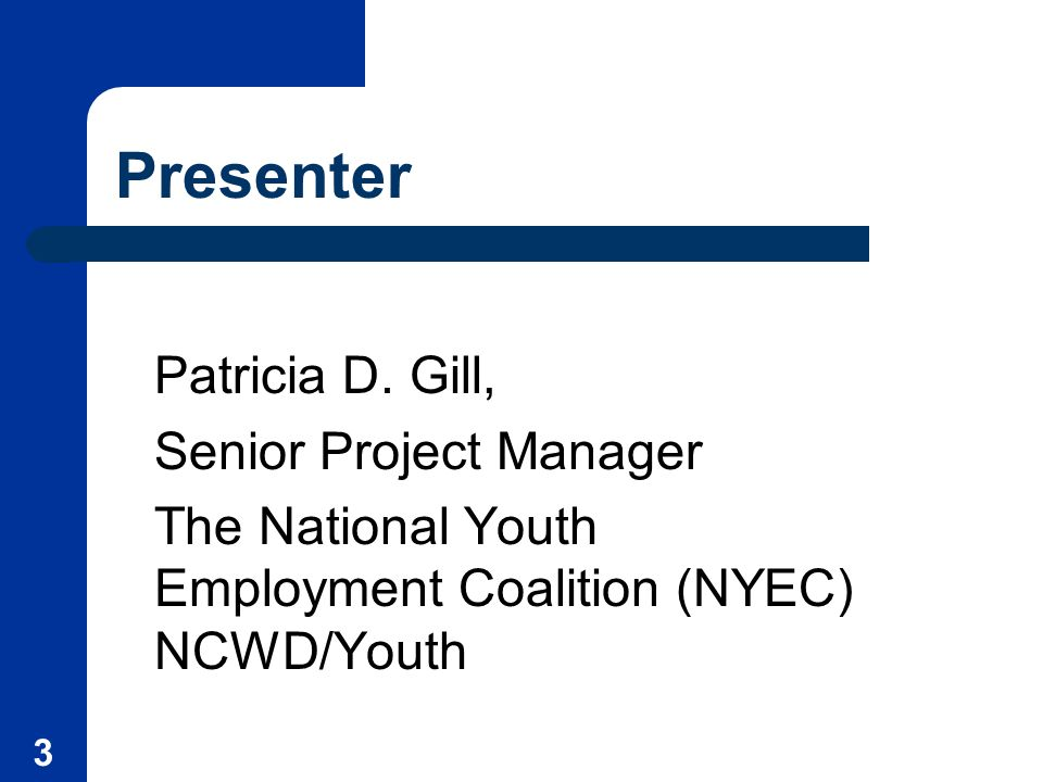 3 Presenter Patricia D. Gill, Senior Project Manager The National Youth Employment Coalition (NYEC) NCWD/Youth