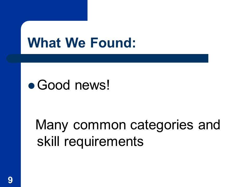 9 What We Found: Good news! Many common categories and skill requirements
