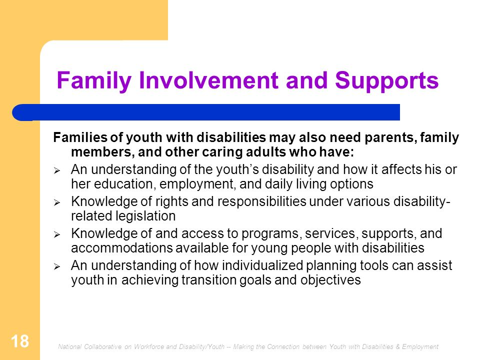 National Collaborative on Workforce and Disability/Youth -- Making the Connection between Youth with Disabilities & Employment 18 Family Involvement a