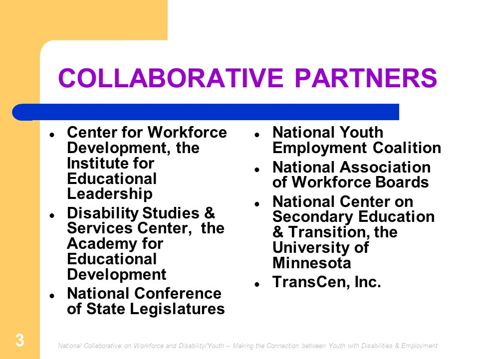 National Collaborative on Workforce and Disability/Youth -- Making the Connection between Youth with Disabilities & Employment 3 COLLABORATIVE PARTNER