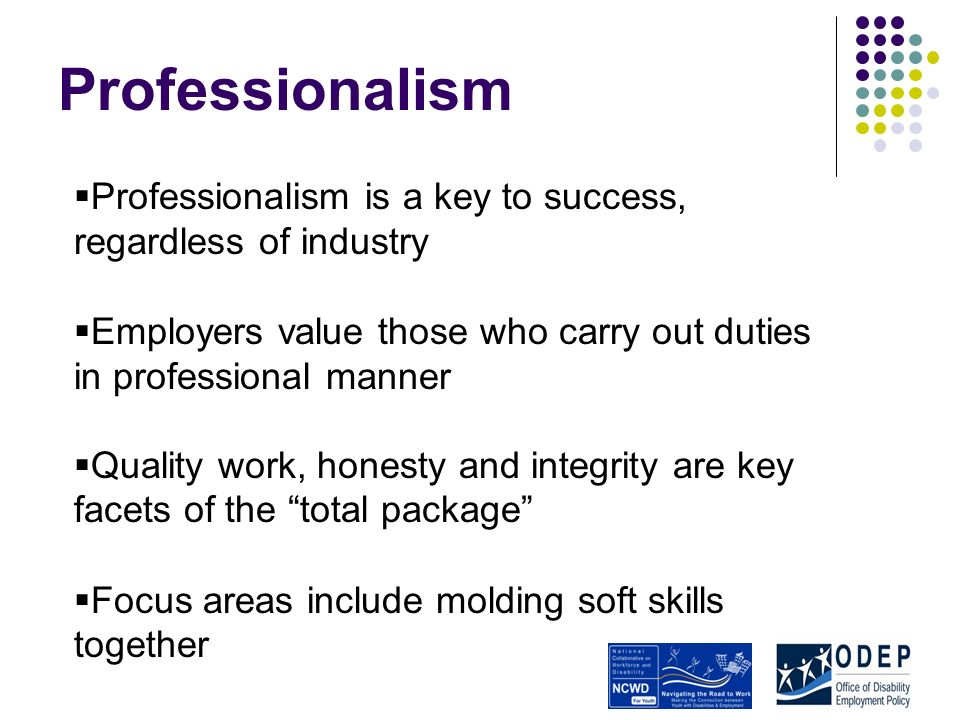Professionalism Professionalism is a key to success, regardless of industry Employers value those who carry out duties in professional manner Quality work, honesty and integrity are key facets of the total package Focus areas include molding soft skills together