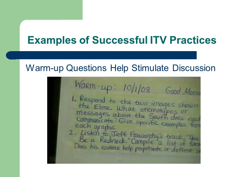 Examples of Successful ITV Practices Warm-up Questions Help Stimulate Discussion