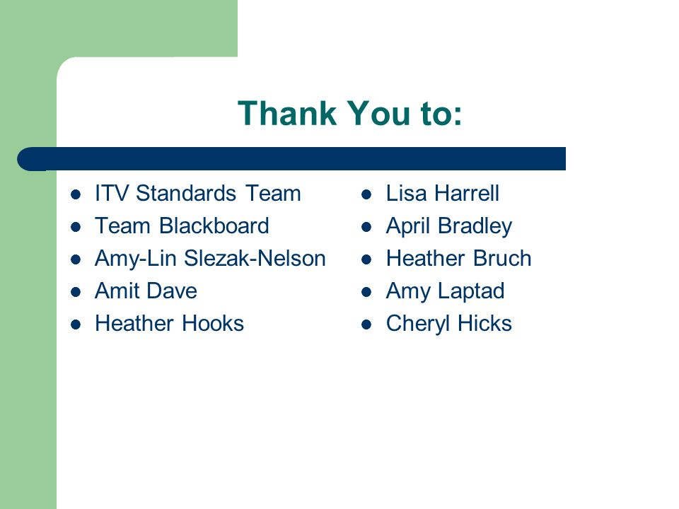 Thank You to: ITV Standards Team Team Blackboard Amy-Lin Slezak-Nelson Amit Dave Heather Hooks Lisa Harrell April Bradley Heather Bruch Amy Laptad Che