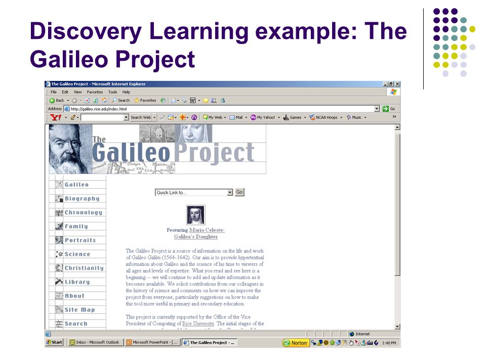 Discovery Learning example: The Galileo Project
