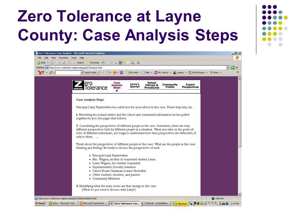 Zero Tolerance at Layne County: Case Analysis Steps