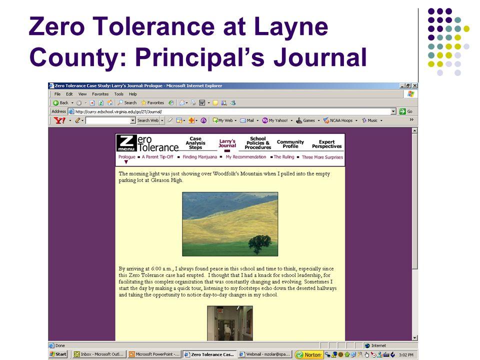 Zero Tolerance at Layne County: Principals Journal