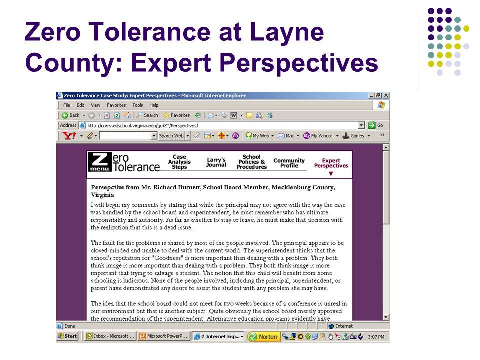 Zero Tolerance at Layne County: Expert Perspectives
