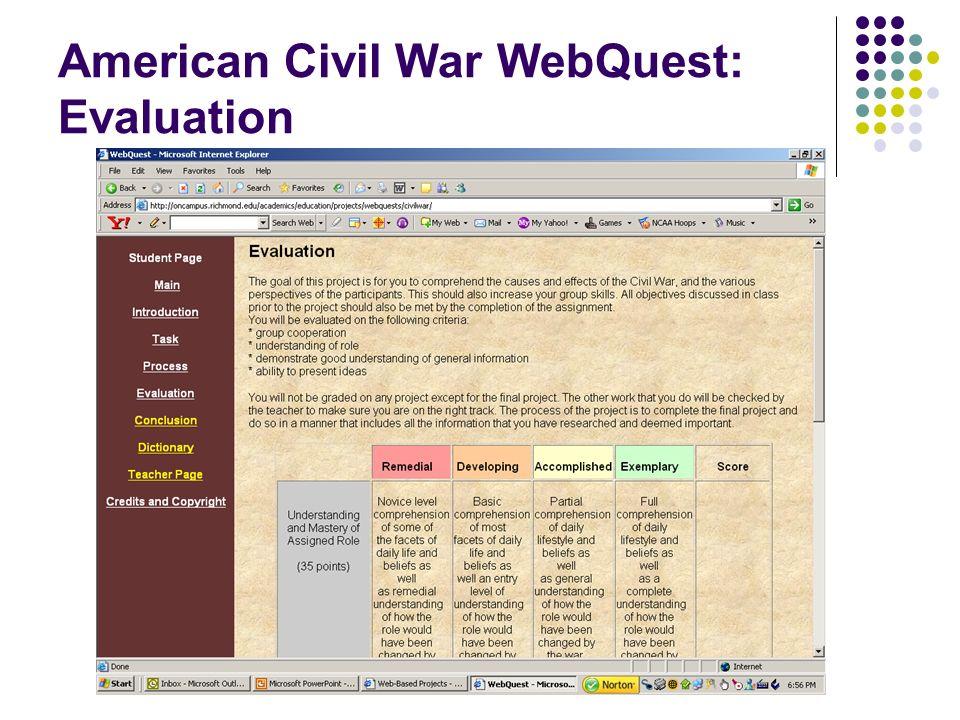 American Civil War WebQuest: Evaluation