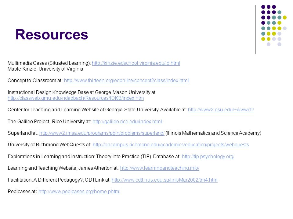 Resources Multimedia Cases (Situated Learning): http://kinzie.edschool.virginia.edu/id.htmlhttp://kinzie.edschool.virginia.edu/id.html Mable Kinzie, U