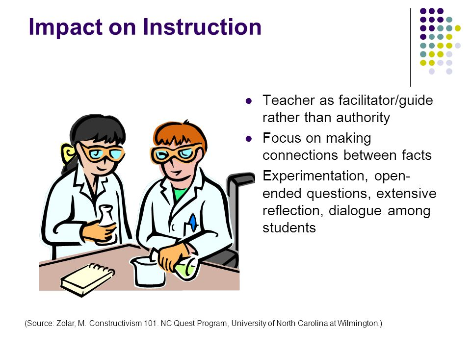 Impact on Instruction Teacher as facilitator/guide rather than authority Focus on making connections between facts Experimentation, open- ended questi