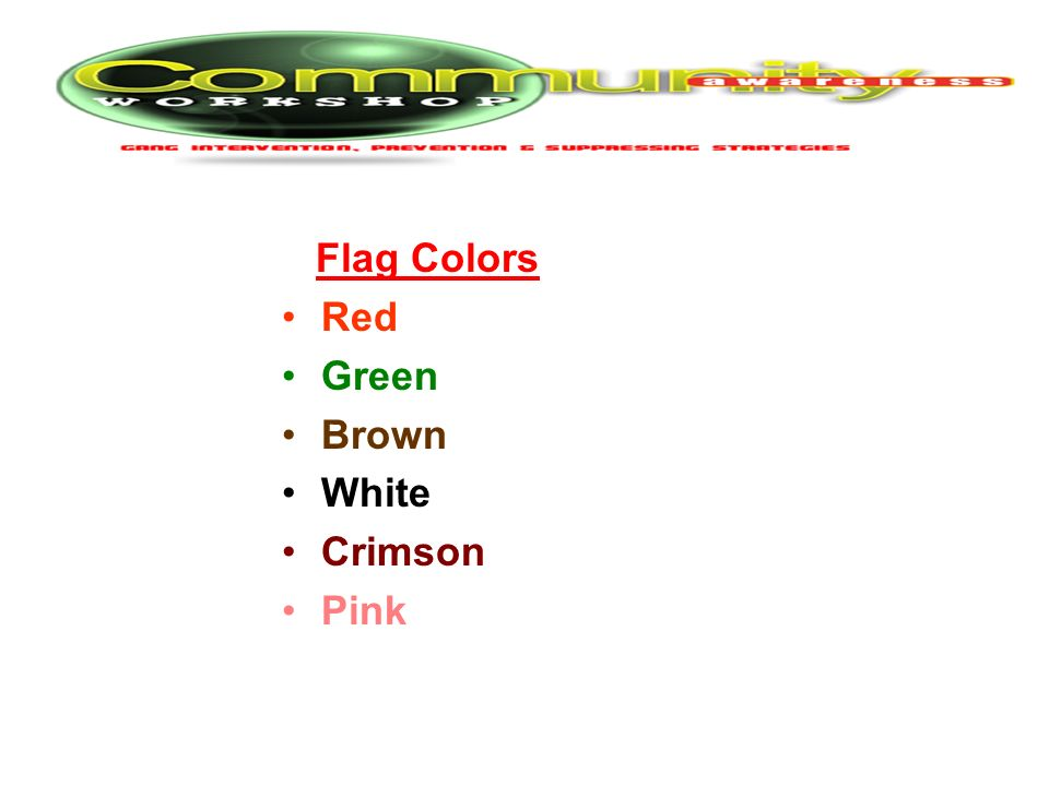 Flag Colors Red Green Brown White Crimson Pink