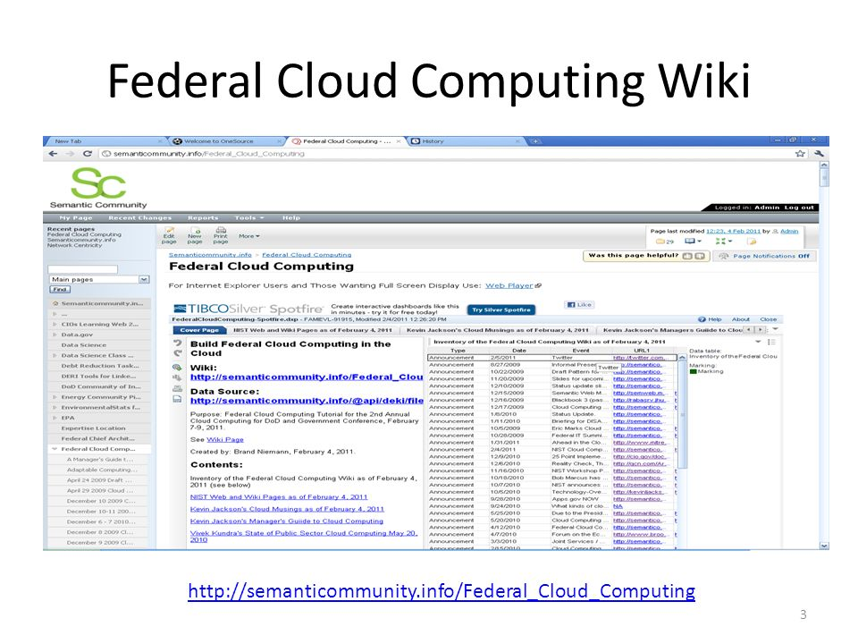 Federal Cloud Computing Wiki 3 http://semanticommunity.info/Federal_Cloud_Computing