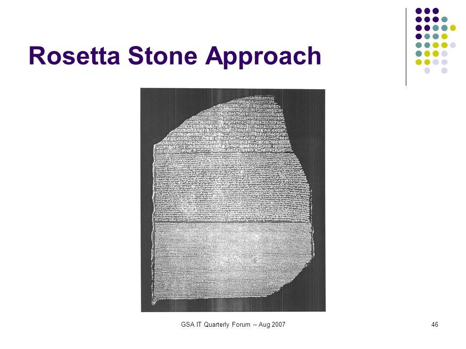 GSA IT Quarterly Forum -- Aug 200746 Rosetta Stone Approach