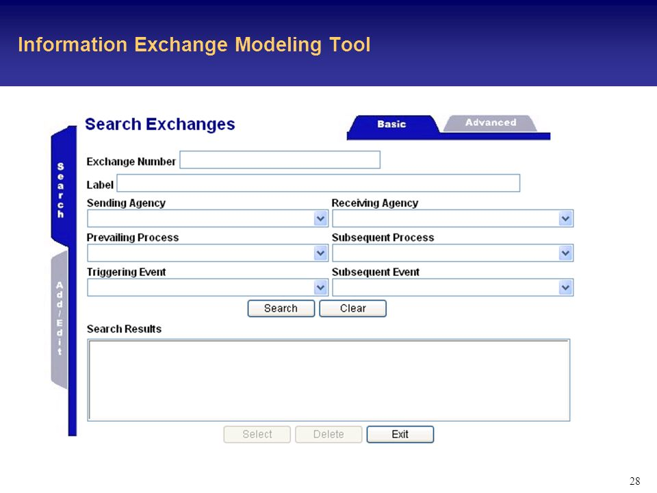 28 Information Exchange Modeling Tool