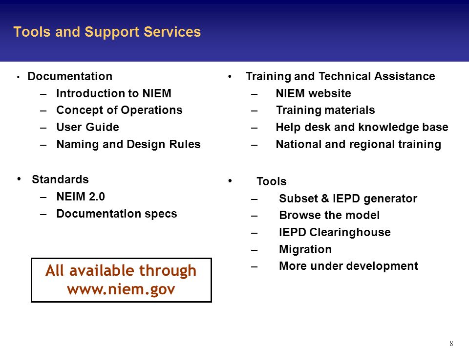 8 Tools and Support Services Training and Technical Assistance – NIEM website – Training materials – Help desk and knowledge base – National and regional training Tools – Subset & IEPD generator – Browse the model – IEPD Clearinghouse – Migration – More under development Documentation – Introduction to NIEM – Concept of Operations – User Guide – Naming and Design Rules Standards – NEIM 2.0 – Documentation specs All available through