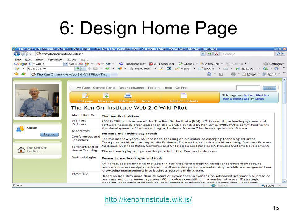 15 6: Design Home Page http://kenorrinstitute.wik.is/