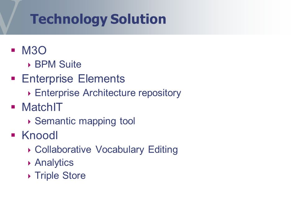 Technology Solution M3O BPM Suite Enterprise Elements Enterprise Architecture repository MatchIT Semantic mapping tool Knoodl Collaborative Vocabulary Editing Analytics Triple Store