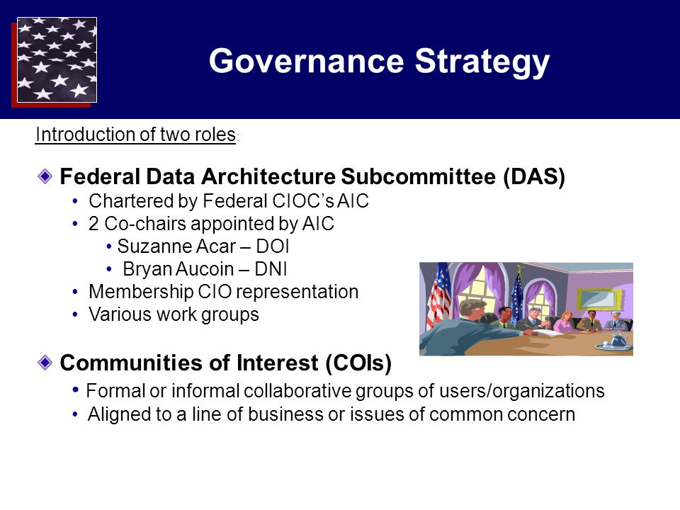 Governance Strategy Federal Data Architecture Subcommittee (DAS) Chartered by Federal CIOCs AIC 2 Co-chairs appointed by AIC Suzanne Acar – DOI Bryan Aucoin – DNI Membership CIO representation Various work groups Communities of Interest (COIs) Formal or informal collaborative groups of users/organizations Aligned to a line of business or issues of common concern Introduction of two roles :