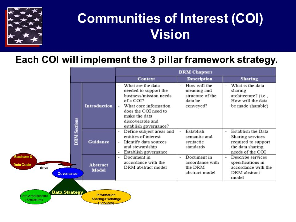 Communities of Interest (COI) Vision Each COI will implement the 3 pillar framework strategy.