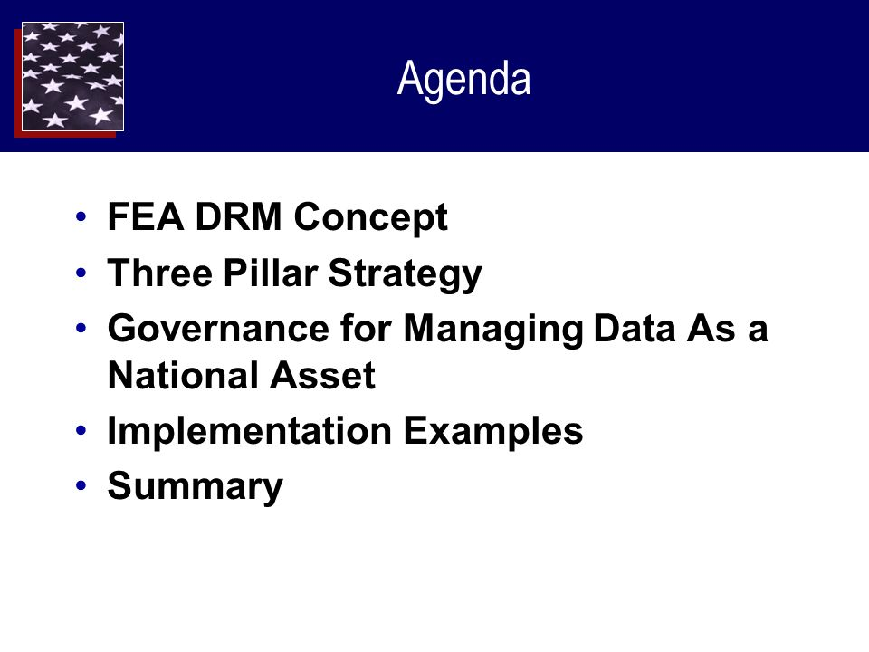 Agenda FEA DRM Concept Three Pillar Strategy Governance for Managing Data As a National Asset Implementation Examples Summary