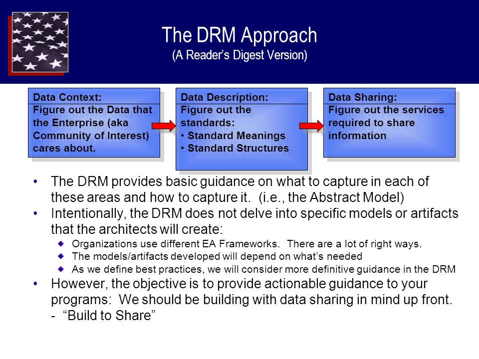 The DRM Approach (A Readers Digest Version) The DRM provides basic guidance on what to capture in each of these areas and how to capture it.