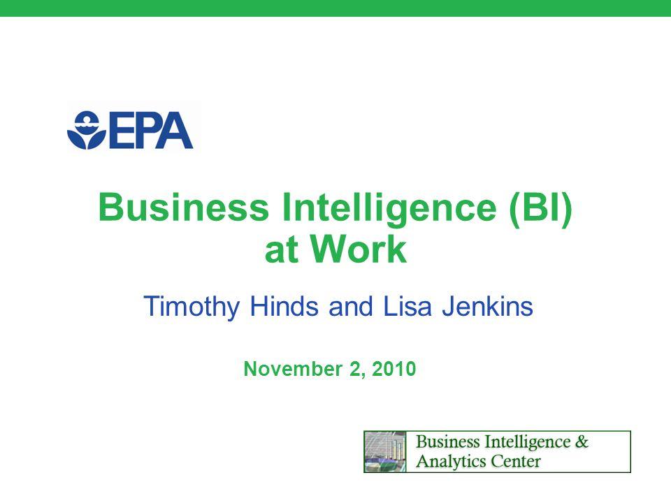 Business Intelligence (BI) at Work November 2, 2010 Timothy Hinds and Lisa Jenkins