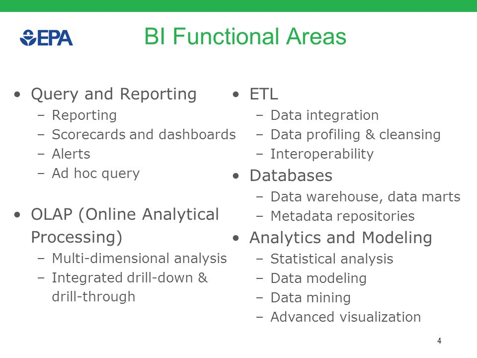 4 BI Functional Areas Query and Reporting –Reporting –Scorecards and dashboards –Alerts –Ad hoc query OLAP (Online Analytical Processing) –Multi-dimen
