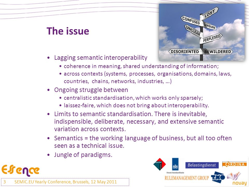 The issue Lagging semantic interoperability coherence in meaning, shared understanding of information; across contexts (systems, processes, organisations, domains, laws, countries, chains, networks, industries, …) Ongoing struggle between centralistic standardisation, which works only sparsely; laissez-faire, which does not bring about interoperability.