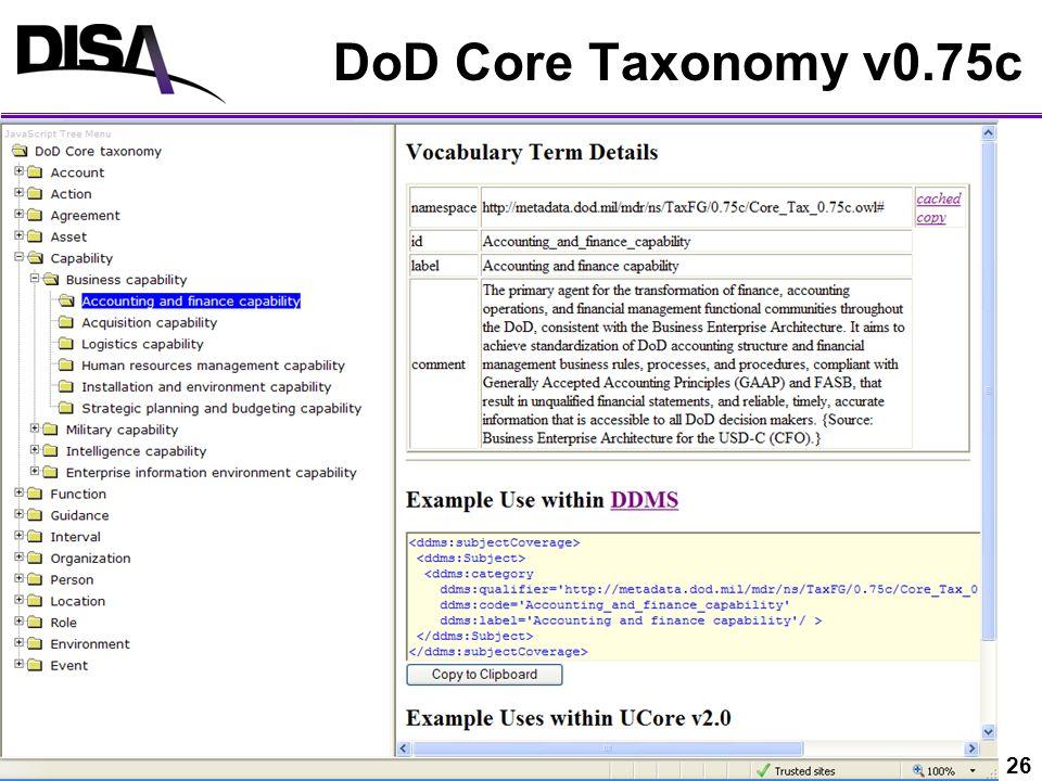 UNCLASSIFIED 26 DoD Core Taxonomy v0.75c