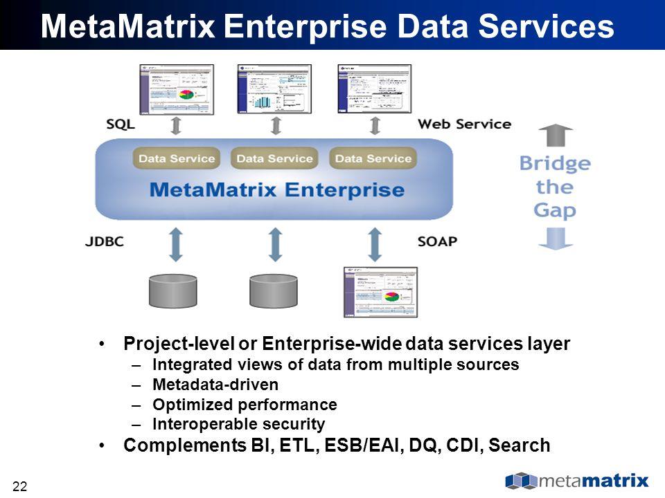 22 MetaMatrix Enterprise Data Services Project-level or Enterprise-wide data services layer –Integrated views of data from multiple sources –Metadata-