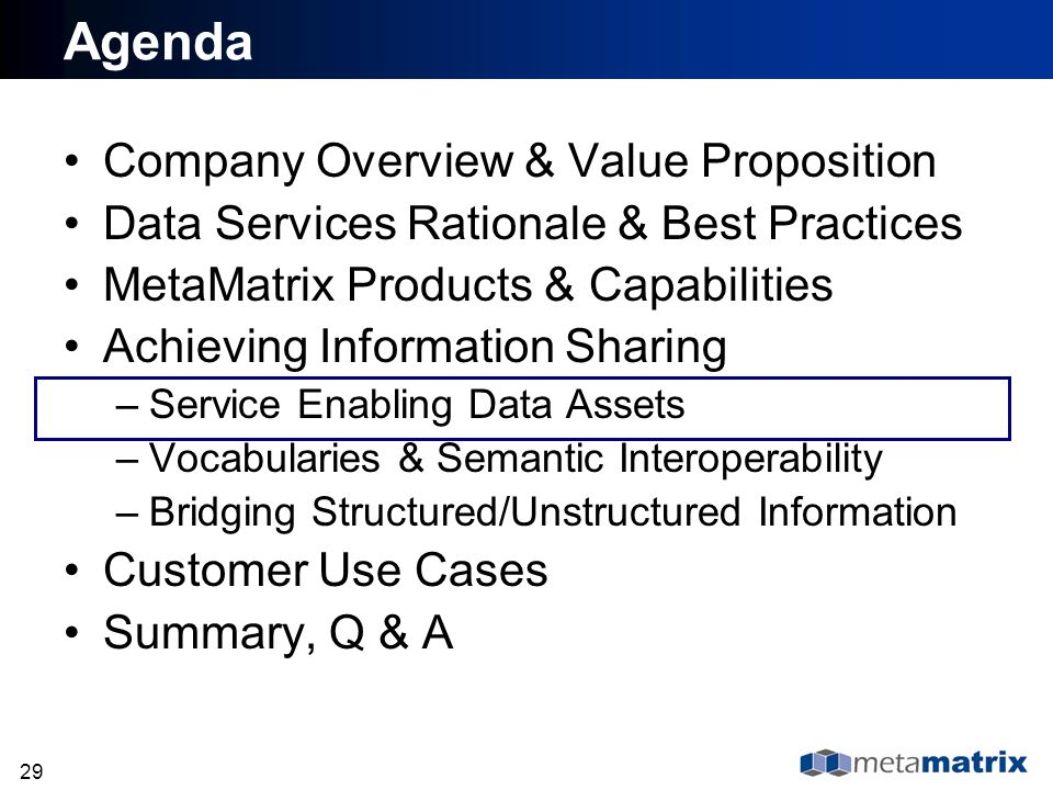 29 Agenda Company Overview & Value Proposition Data Services Rationale & Best Practices MetaMatrix Products & Capabilities Achieving Information Shari