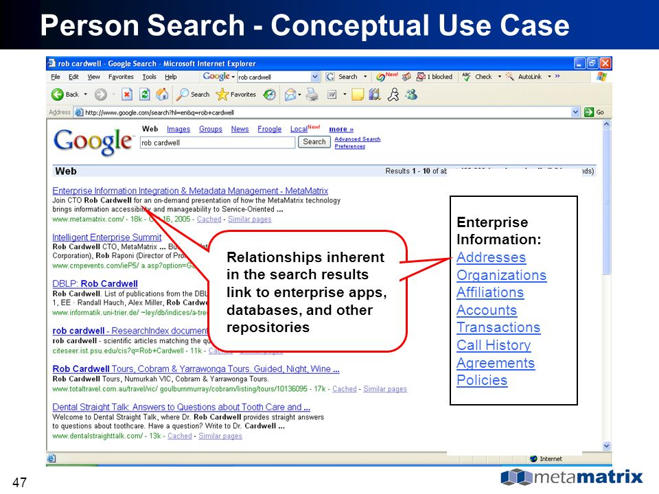 47 Person Search - Conceptual Use Case Enterprise Information: Addresses Organizations Affiliations Accounts Transactions Call History Agreements Poli