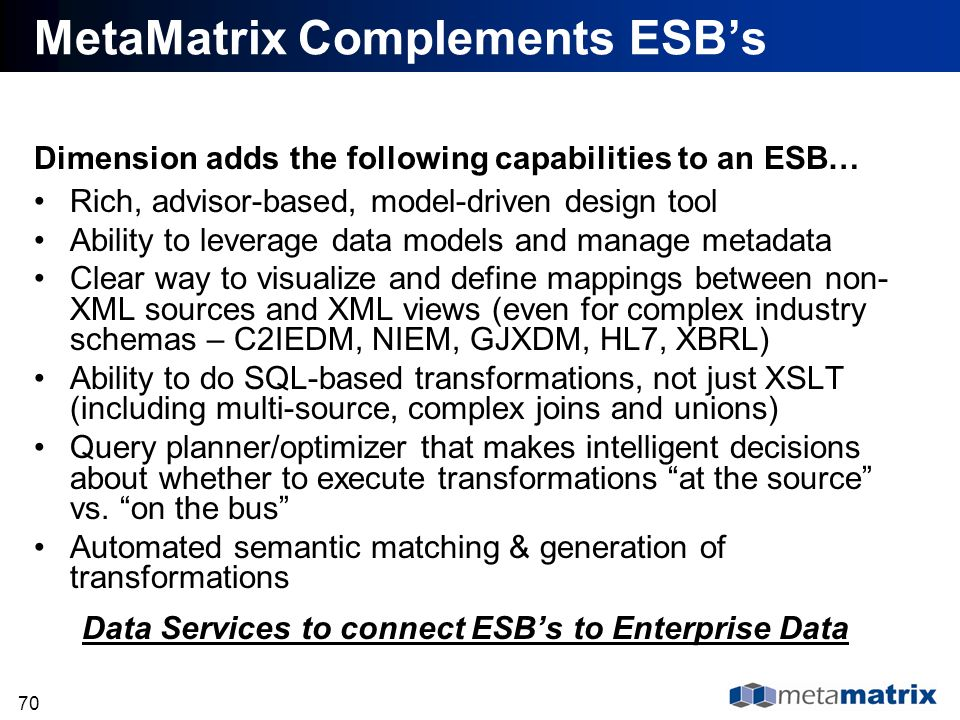 70 MetaMatrix Complements ESBs Dimension adds the following capabilities to an ESB… Rich, advisor-based, model-driven design tool Ability to leverage